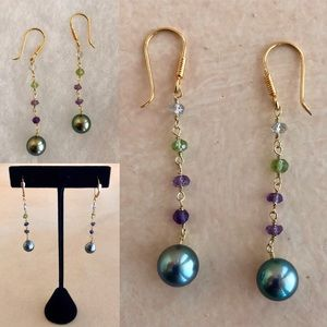 Tahitian Pearl 18k French Hook Earrings w/Gems